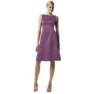 David's Bridal | Satin Purple Boat Neck Dress